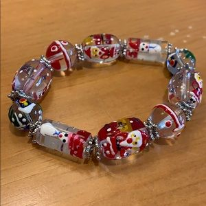 Hand painted holiday bracelet